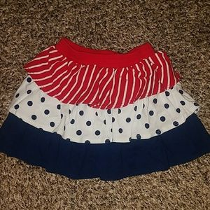 Gymboree size 3T Red White Blue Tiered Skirt